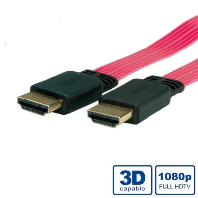 Cablu HDMI cu Ethernet v1.4 Ultra Slim 2m, Roline 11.04.5539