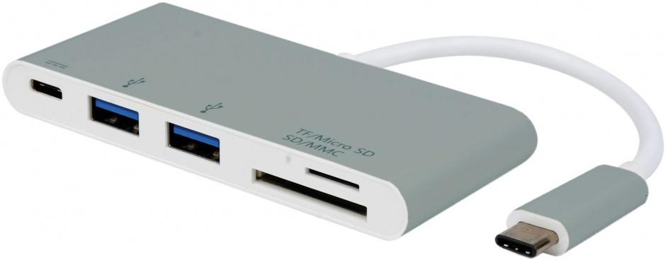 Cititor de carduri USB tip C 3.1 + 2 x USB-A si alimentare (PD), Roline 15.08.6257