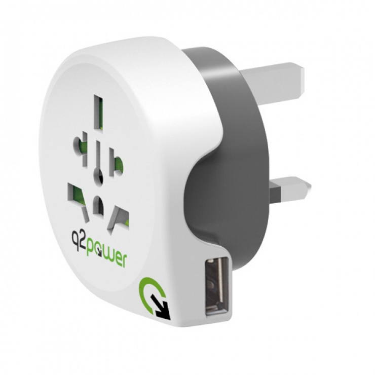 Imagine Adaptor World (EU, USA, UK) la UK + 1 x USB 2.1A, Q2POWER 19.07.1577