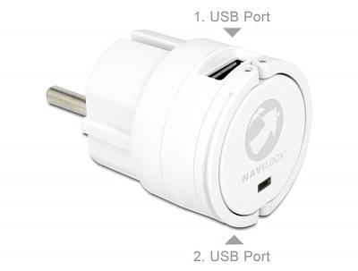 Incarcator priza 2 x USB 2A Alb, Delock 62516