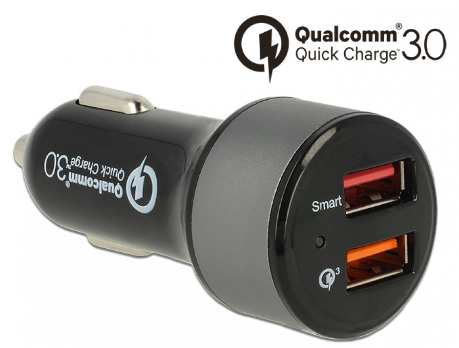 Imagine Incarcator auto cu 2 x USB Qualcomm® Quick Charge 3.0, Navilock 62739