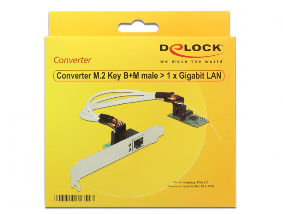 Imagine Convertor M.2 Key B+M male la 1 x Gigabit LAN Low Profile Form Factor, Delock 62851-1