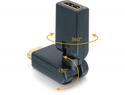 Adaptor HDMI unghi 180 grade T-M, Delock 65162