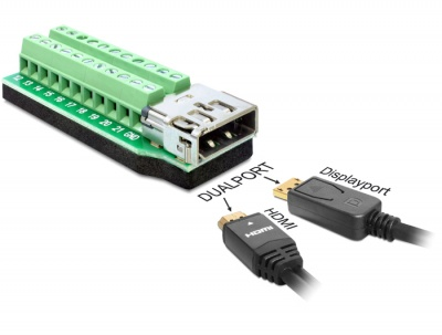 Adaptor Dualport HDMI + Displayport mama la bloc terminal 22 pini, Delock 65393