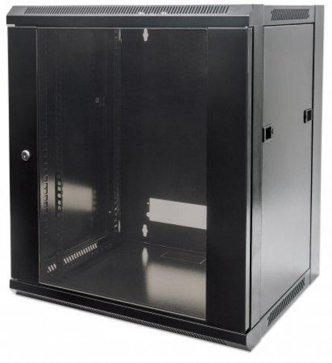 "Imagine Cabinet 19"" fixare pe perete Flatpack 12U Black, Intellinet 711869"