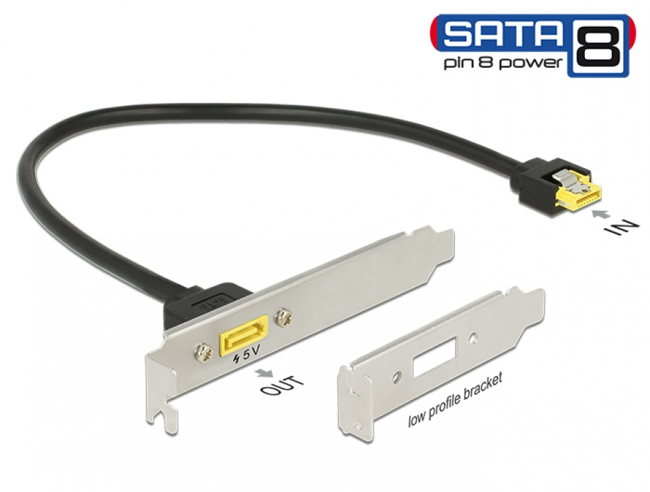 Imagine Slot bracket SATA 6 Gb/s receptacle la SATA de alimentare 8 pini 0.3m, Delock 84952