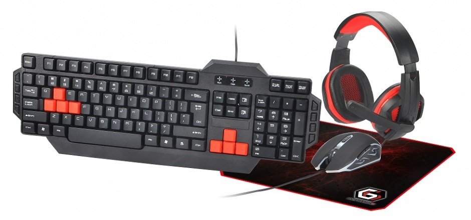 Imagine Kit Gaming Ultimate 4-in-1 (tastatura, mouse, mouse pad, casti USB), Gembird GGS-UMG4-01