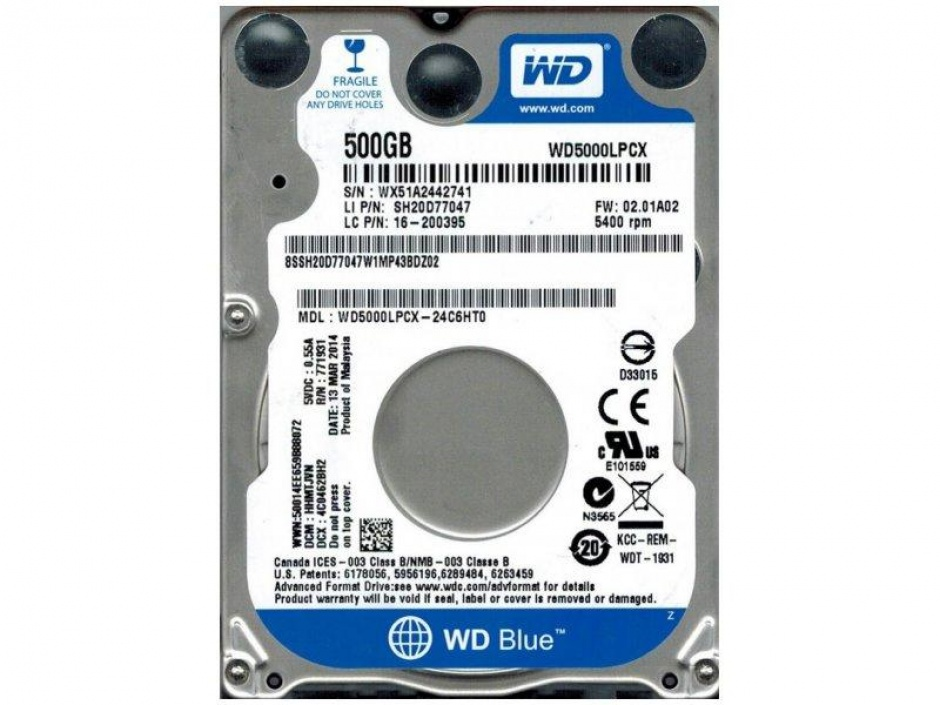 Imagine HDD Notebook WD Blue 500GB 5400rpm 16M SATA3