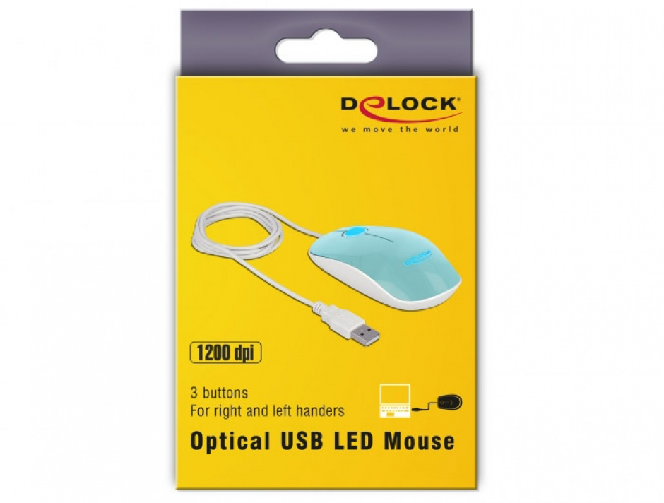 Imagine Mouse optic pe USB cu LED 3 butoane turcoaz, Delock 12538