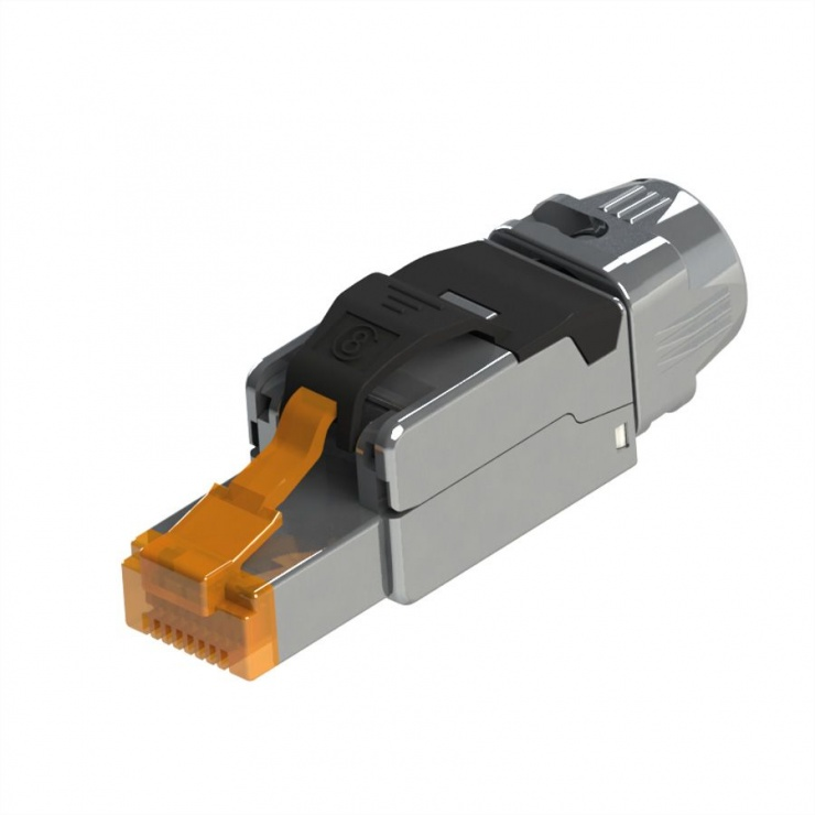 Imagine Conector RJ45 cat 8.1 pentru fir solid AWG 22 - 24, Roline 21.17.3086