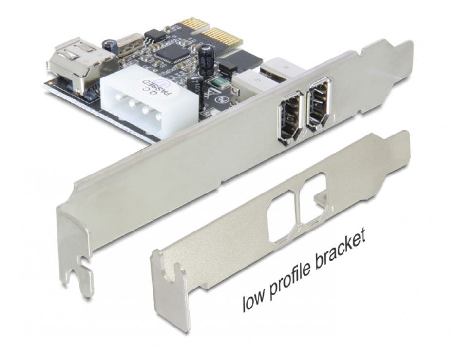 Imagine Placa PCI Express 3 porturi FireWire A, Delock 89213