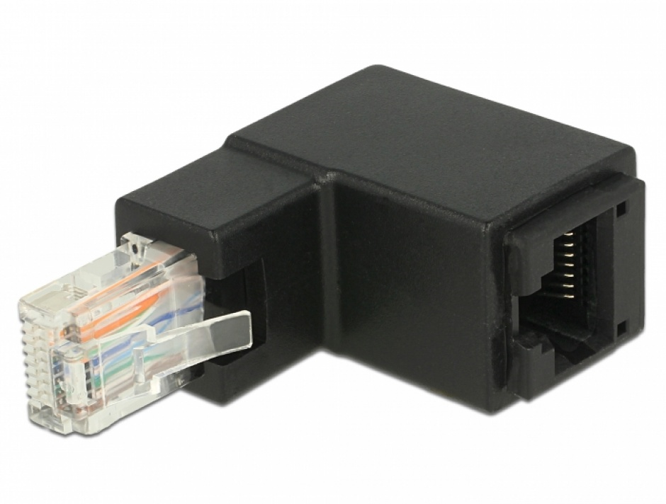 Imagine Adaptor RJ45 UTP in unghi cat 6 T-M negru, Delock 86424