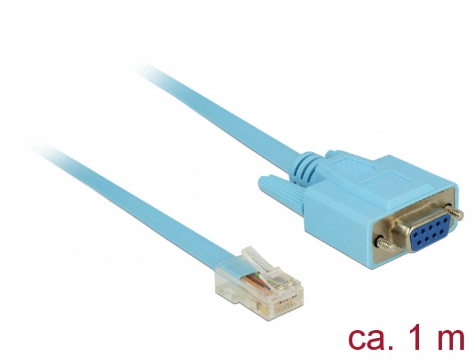 Imagine Cablu serial RS-232 DB9 la Serial RS-232 RJ45 (pentru router Cisco) 1m, Delock 63341