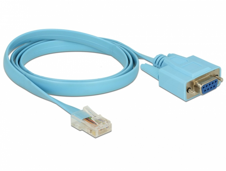 Imagine Cablu serial RS-232 DB9 la Serial RS-232 RJ45 (pentru router Cisco) 1m, Delock 63341-1
