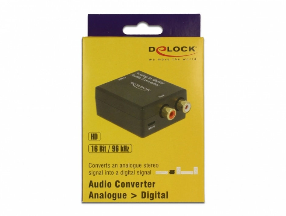 Imagine Convertor audio analog RCA la digital S/PDIF HD, Delock 63468-2