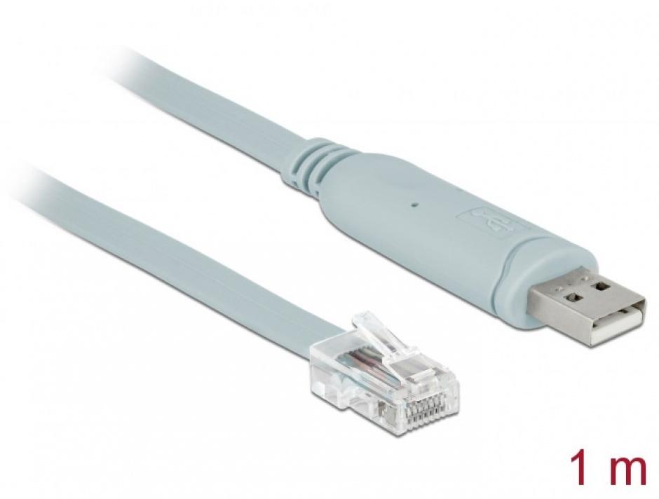 Cablu USB la Serial RS-232 RJ45 (pentru router CISCO) T-T 1m Gri, Delock 63911