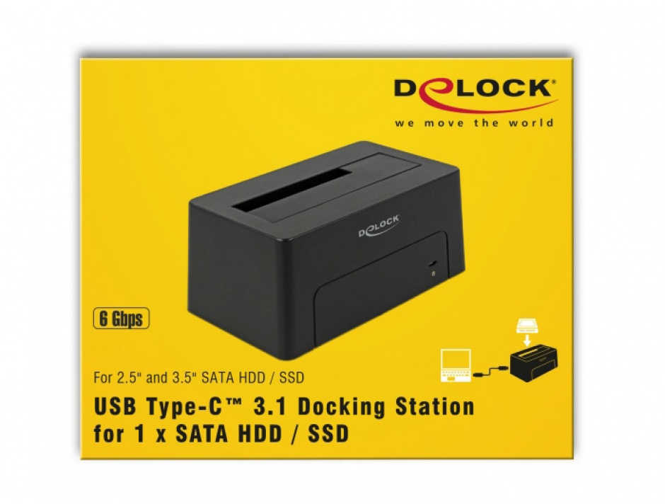 Imagine Docking Station USB 3.1-C pentru HDD/SSD SATA, Delock 63958-6