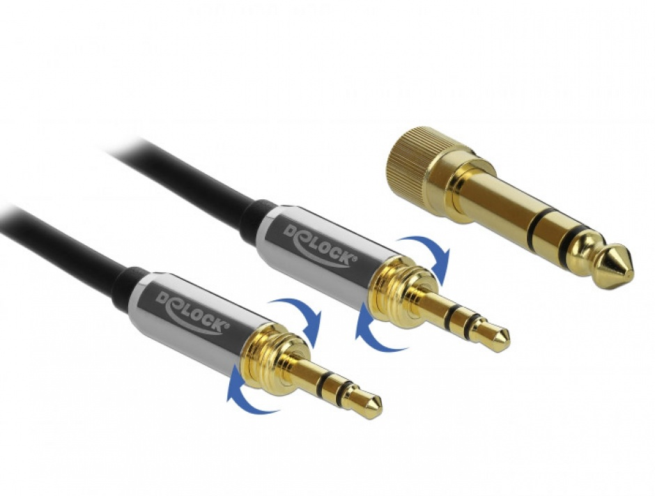 Imagine Cablu jack stereo 3.5mm 3 pini T-T + adaptor cu surub 6.35 mm 3m, Delock 85787