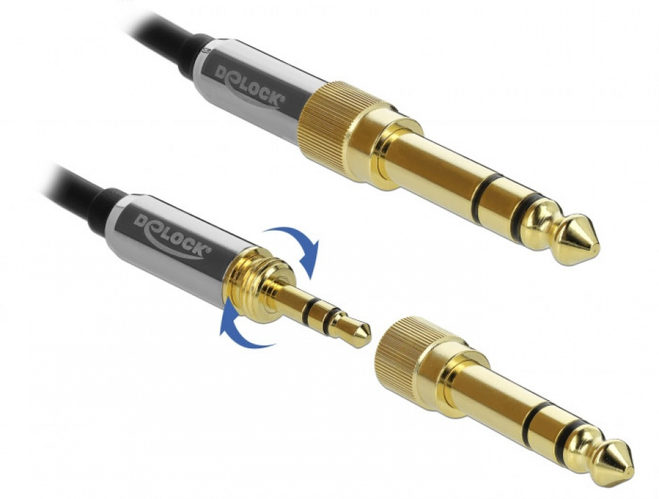 Imagine Cablu jack stereo 3.5mm 3 pini T-T + adaptor cu surub 6.35 mm 3m, Delock 85787-3