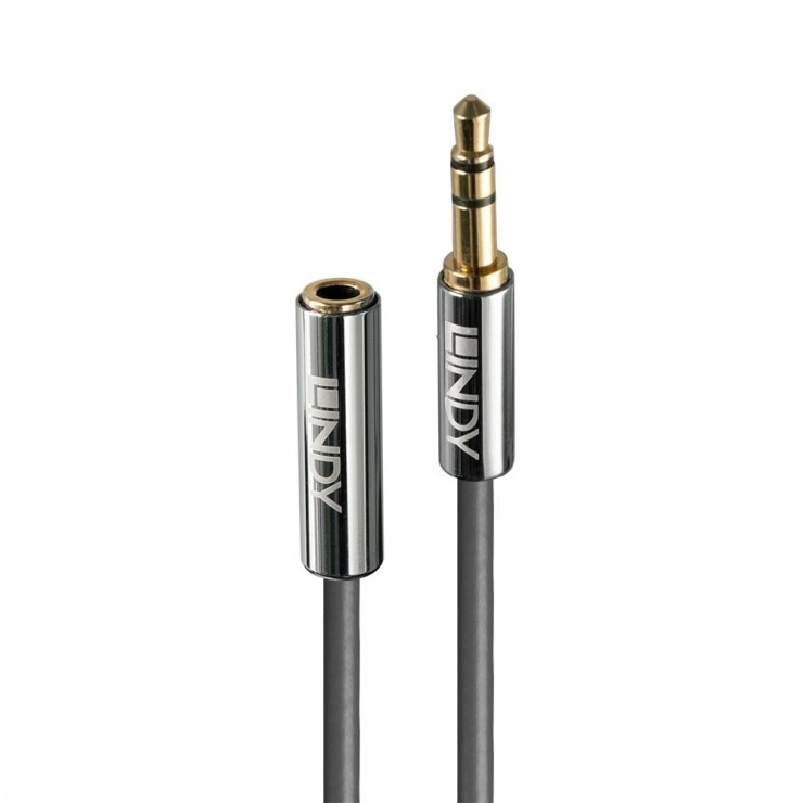 Imagine Cablu prelungitor audio jack stereo 3.5mm CROMO Line T-M 3m, Lindy L35329
