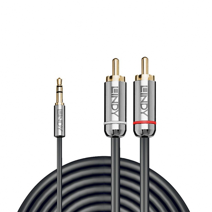 Imagine Cablu audio jack 3.5mm la 2 x RCA 3m T-T Antracit Cromo Line, Lindy L35335-1