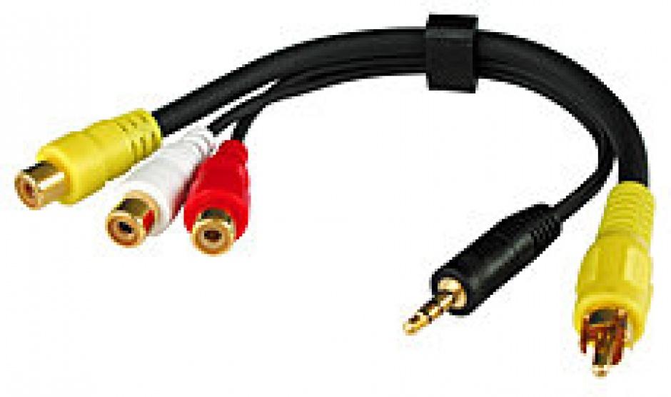 Cablu audio video 3 x RCA la 1 x jack stereo 3.5mm + 1 x RCA 20cm, Lindy L35538