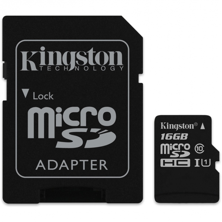 Card de memorie micro SD Canvas Select 16GB clasa 10 + adaptor SD, Kingston SDCS/16GB