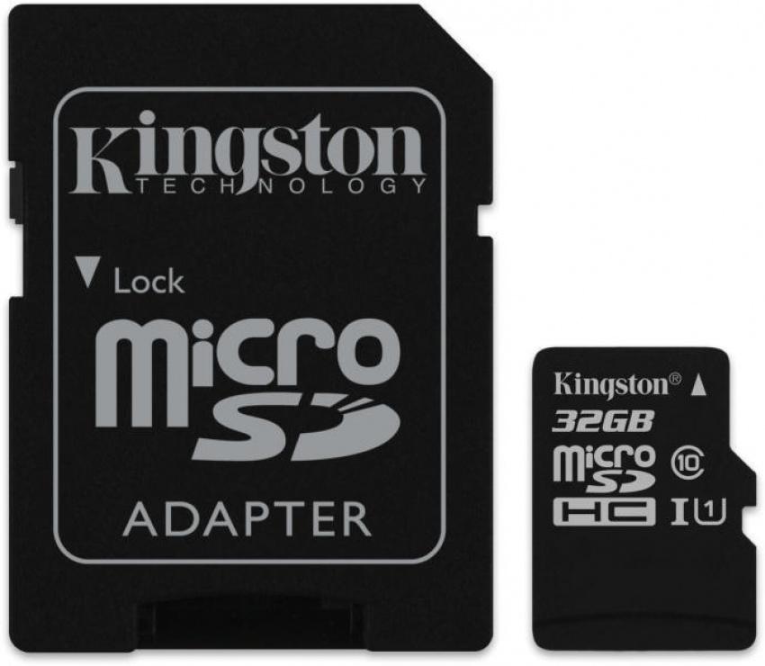 Card de memorie micro SD Canvas Select 32GB clasa 10 + adaptor SD, Kingston SDCS/32GB