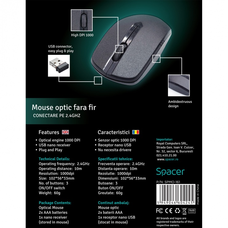 Imagine Mouse wireless 1000dpi negru, Spacer SPMO-161-6