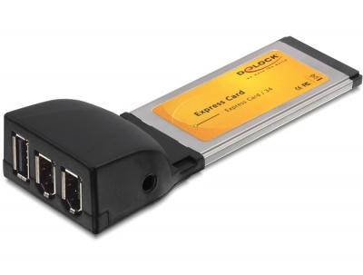 Placa ExpressCard la 1x USB 2.0 - 2 x FireWire A, Delock 61389