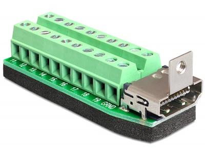 Adaptor HDMI mama la bloc terminal, 20 pini, Delock 65168