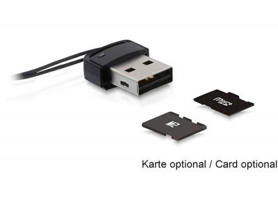 Mini cititor de carduri USB 2.0 - MicroSD/M2, Delock 91678
