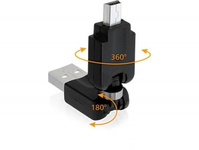 Adaptor rotativ USB 2.0 la mini USB, Delock 65259