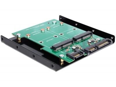 Convertor SATA 22 pini + 7 pini la 2 x mSATA frame 3.5 inch, Delock 62480