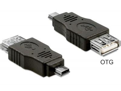 Adaptor mini USB la USB 2.0 T - M OTG, Delock 65399