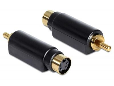 Adaptor S-Video mini Din mama 4 pini la 1x RCA tata, Delock 65490