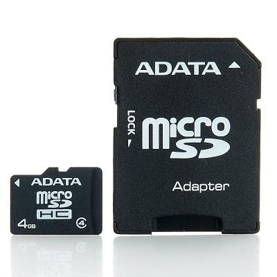 Card memorie micro SDHC 4GB ADATA, adaptor SD, class 4