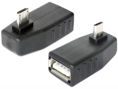 Imagine Adaptor micro USB B la USB 2.0 A T-M OTG unghi 90, Delock 65474