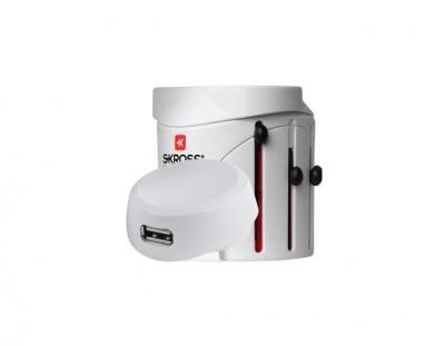 Adaptor priza universal, USB, alb