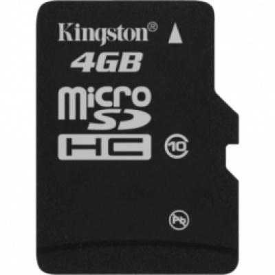 Card de memorie micro SDHC 4GB class10, adaptor SD, KINGSTON SDC10/4GB