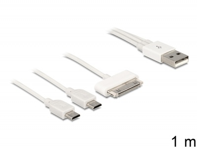 Imagine Cablu USB Multicharging 1 x 30 pini Apple/Samsung + 2 x Micro USB 1m Alb, Delock 83420