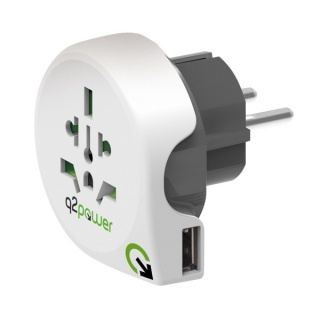 Adaptor World (EU, USA, UK) la Europa + 1 x USB 2.1A, Q2POWER 19.07.1576