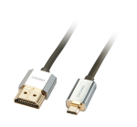 Cablu High Speed HDMI la micro HDMI-D CROMO Slim 0.5m, Lindy L41680