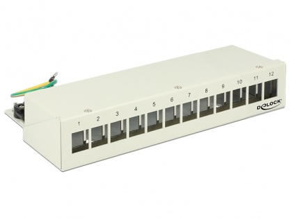 Patch Panel Keystone Desktop 12 Porturi Gri, Delock 43335