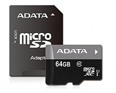 Secure Digital Card micro SDXC 64GB class 10 + adaptor SD, ADATA