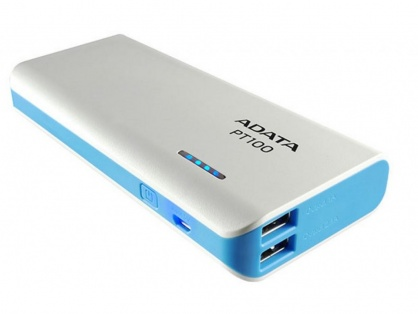 POWER BANK ADATA PT100 10.000 mAh, Alb/Blue, APT100-10000M-5V-CWHBL