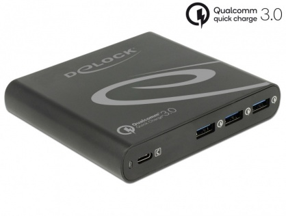 Incarcator priza la 1 x USB-C PD 85 W + 3 x USB-A Qualcomm Quick Charge 3.0 Negru, Delock 41431