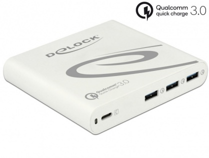 Incarcator priza la 1 x USB-C PD 85 W + 3 x USB-A Qualcomm Quick Charge 3.0 Alb, Delock 41432