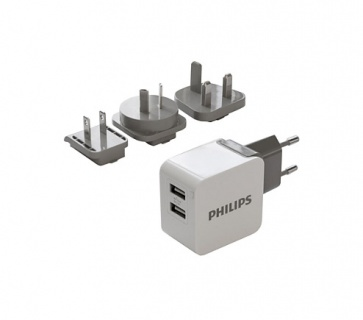 Incarcator priza 2 x USB 5V / 3.1A + adaptoare USA/UK/AU, Philips DLP2220/10