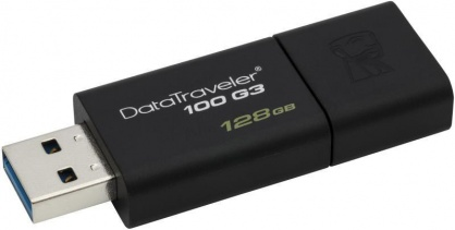 Stick USB 3.0 128GB DataTraveler Negru, Kingston DT100G3/128GB